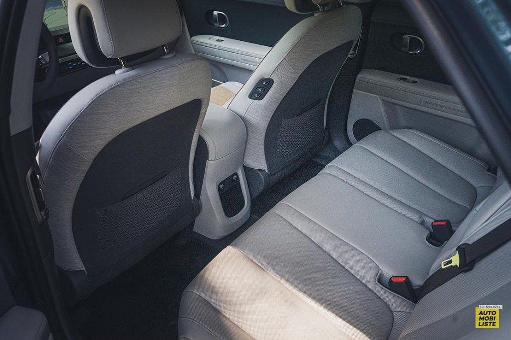Essai Hyundai Ioniq 5 HTRAC Executive 73kW Digital Teal Green places arriere banquette coulissante